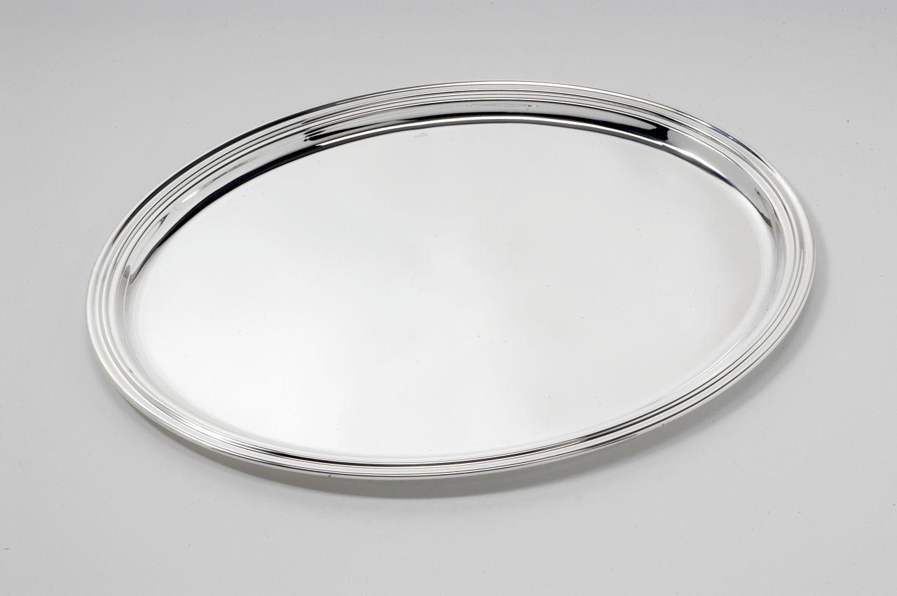 Vassoio ovale argentato argento con bordo girato stile Inglese
