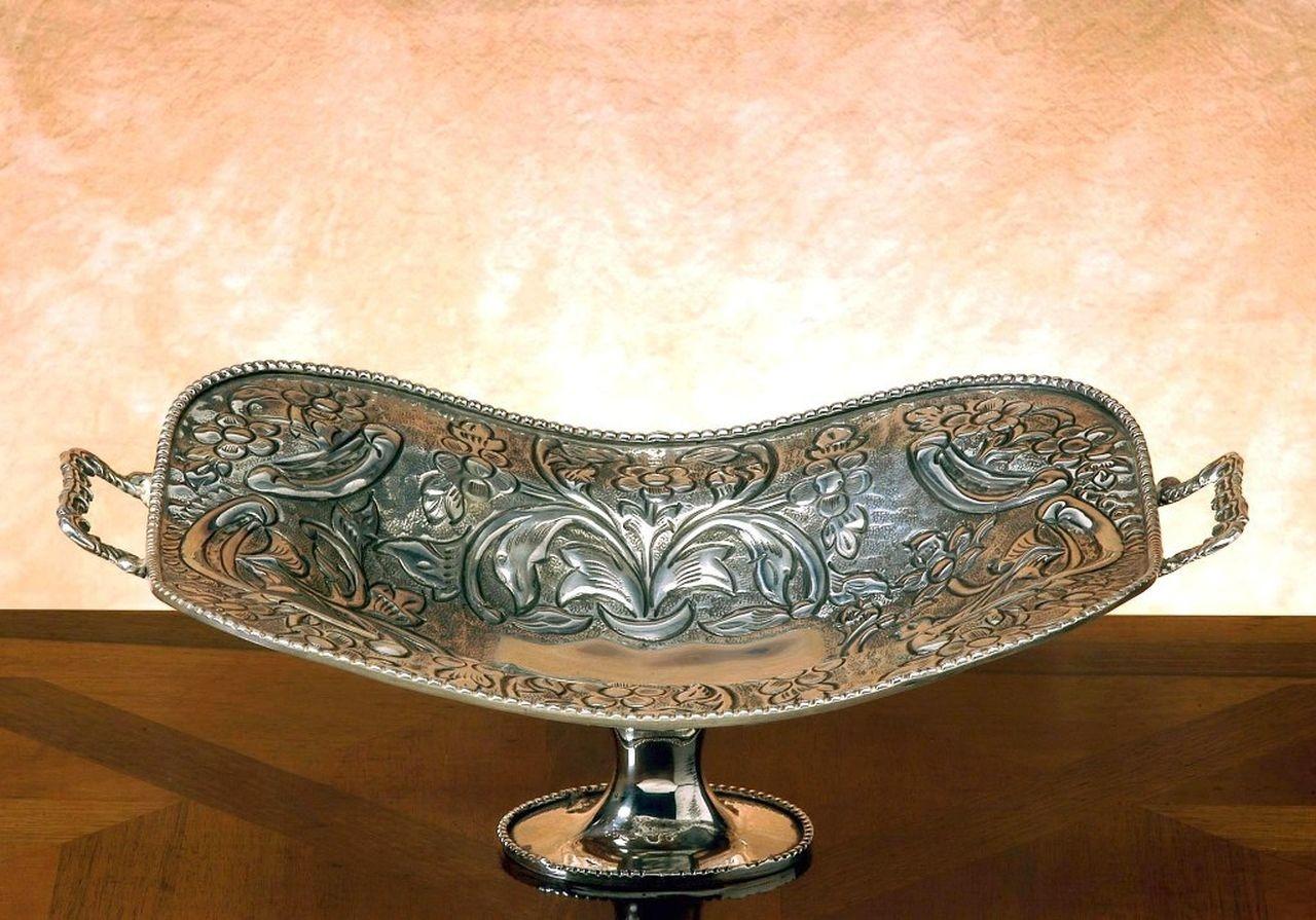 Portafrutta centrotavola argentato argento sheffield stile cesellato