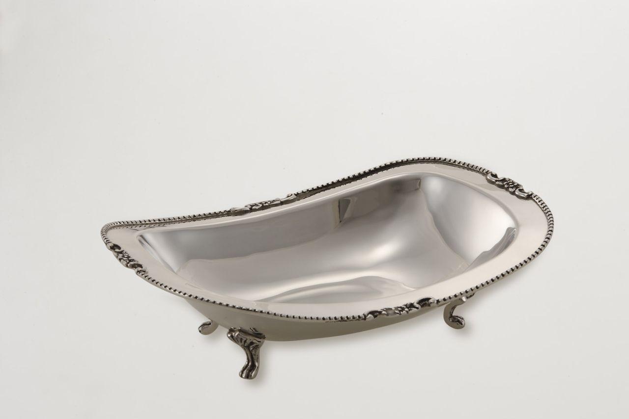 Cestino ovale con piedi stile perlinato argentato argento sheffield cm.12x9,5