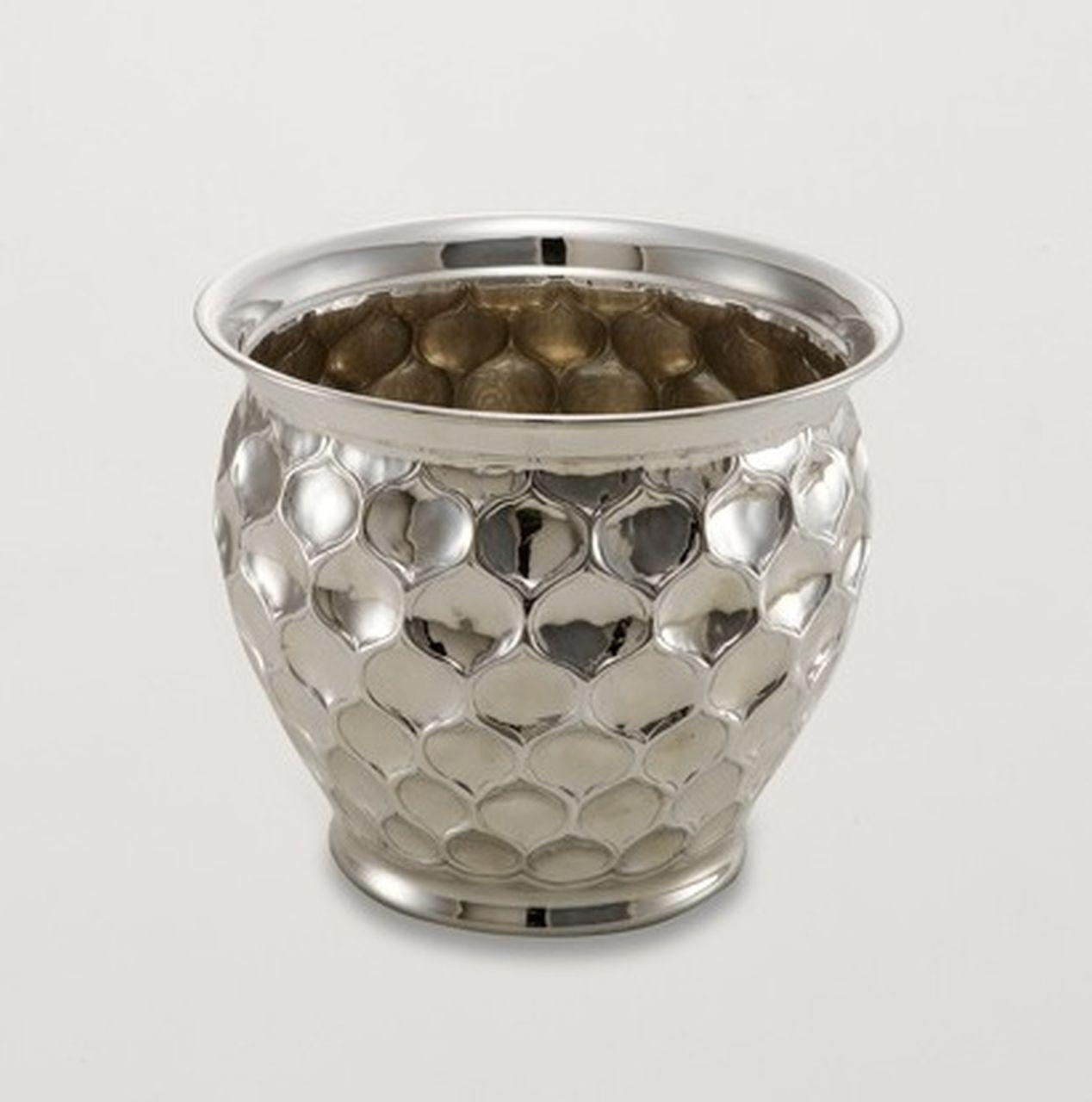 Vaso Fiori Cache Pot portapiante argentato argento sheffield stile goccia cm.14,5h diam.19,5