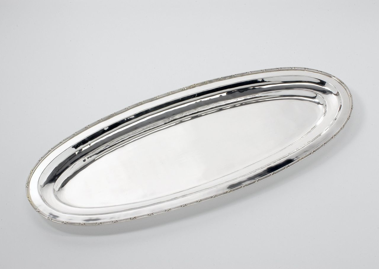 Vassoio pesce stile Rubans argentato argento sheffield cm.82x34