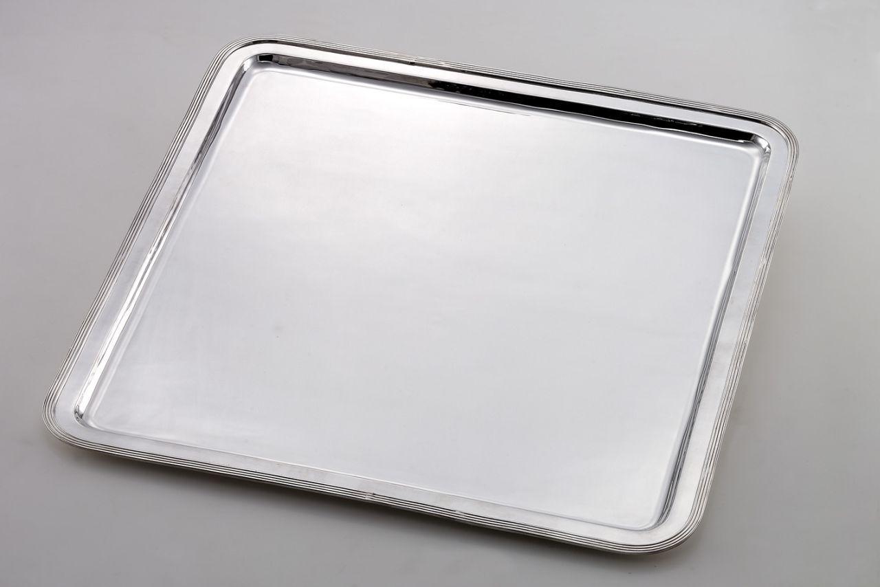 Vassoio grande quadrato stile Inglese argentato argento sheffield cm.69x69x3h