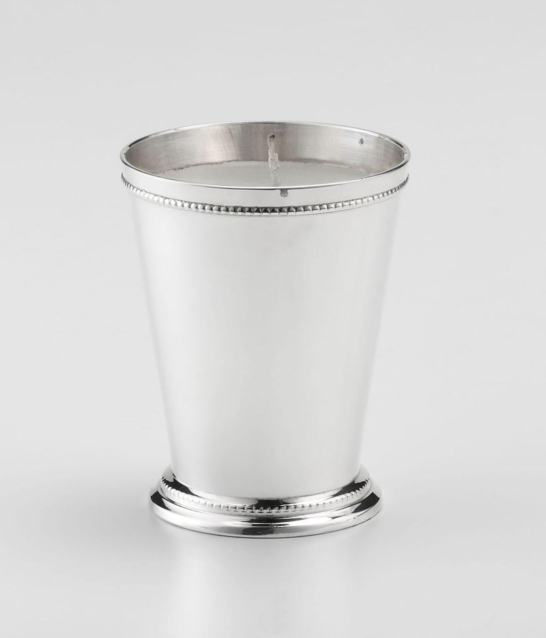 Portacandela argentato argento sheffield stile perlinato