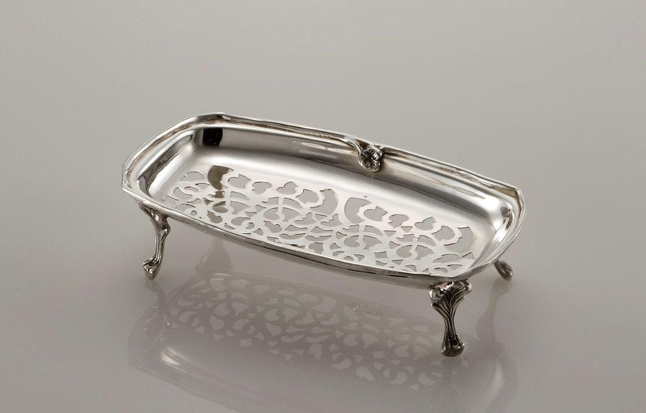 Vassoio portapenne argentato argento sheffield stile traforato