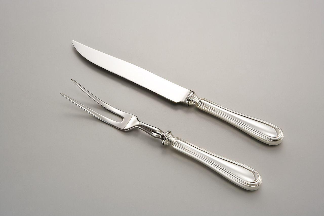 Coltello trinciare argentato argento sheffield stile inglese cm.32,5x2,5
