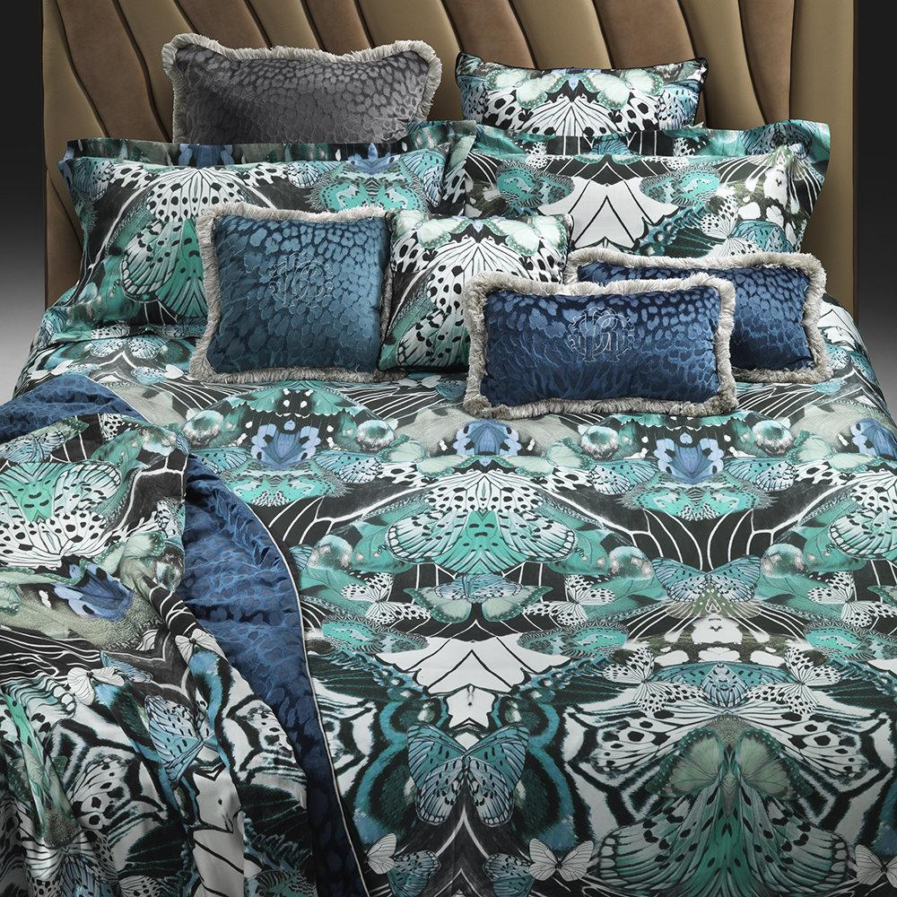 Cotton Box Copripiumino.Roberto Cavalli Bed Set Sheets In Cotton Satin Flying Wings Blue