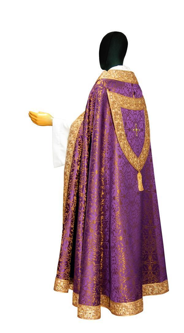 Piviale Ricamo Orientale PB704BW Viola - Damasco Lana Seta