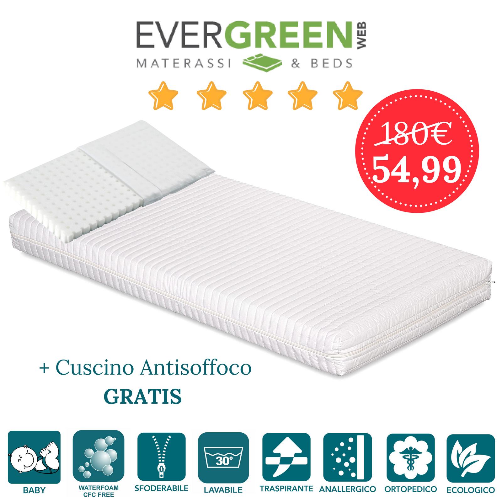 Matelas berceau haut 12 cm d'épaisseur avec tissu blanc hypoallergénique déhoussable - matelas pour lit d'enfant, petit lit, couffin, landau - avec oreiller gratuit - Symba