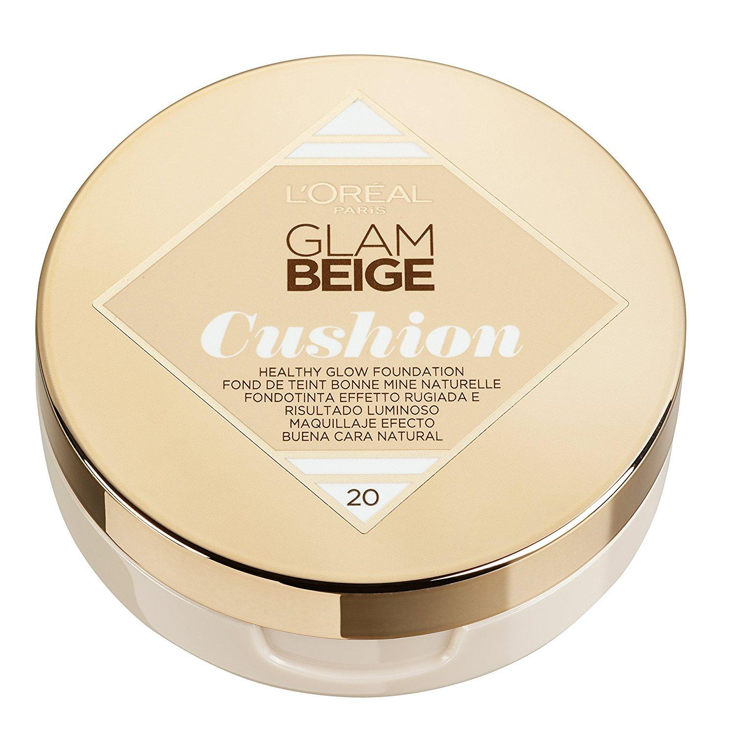 L'Oréal Paris Glam Beige Fondotinta Cushion Leggero e Luminoso, 20 Light