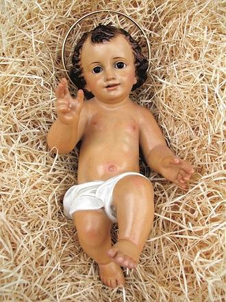 Gesù Bambino in pasta di legno cm. 25