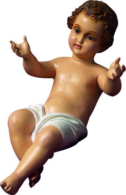 Gesù Bambino in vetroresina con occhi cristallo cm. 33