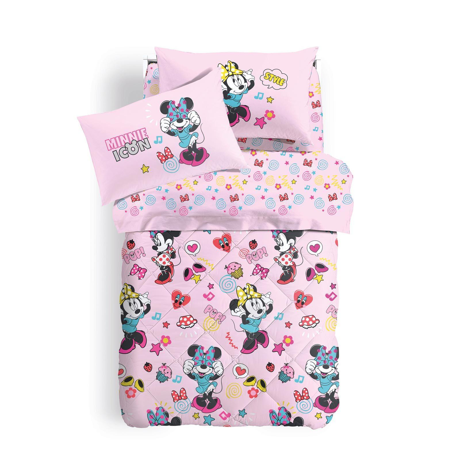Lenzuola Letto Matrimoniale Disney.Set Lenzuola Minnie Caleffi Letto Singolo Disney Minnie Happy