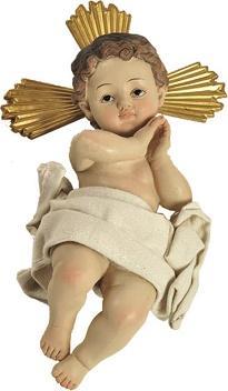 Gesù Bambino in resina con aureola dorata cm. 13