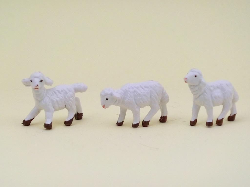 Serie 3 pecore bianche per cm. 6,5