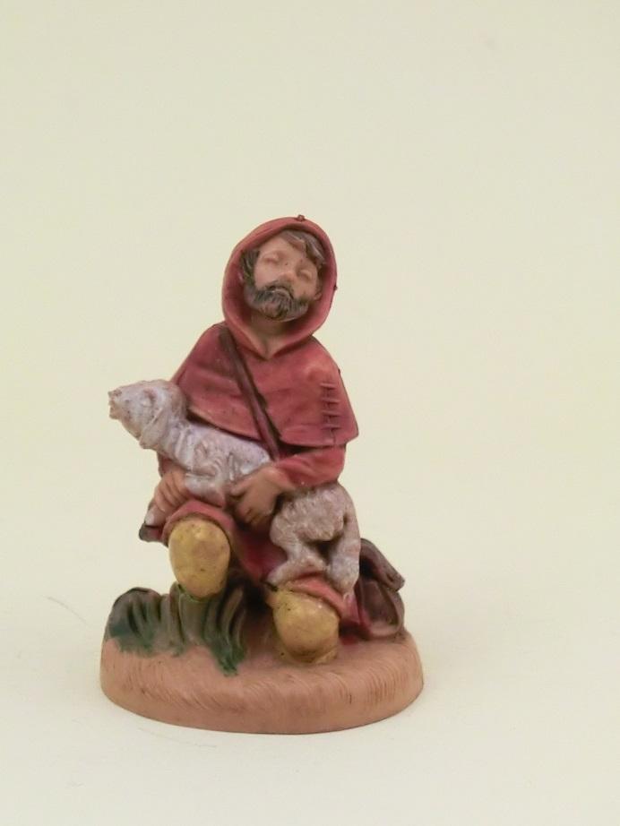 Pastore in ginocchio con agnello cm. 6,5