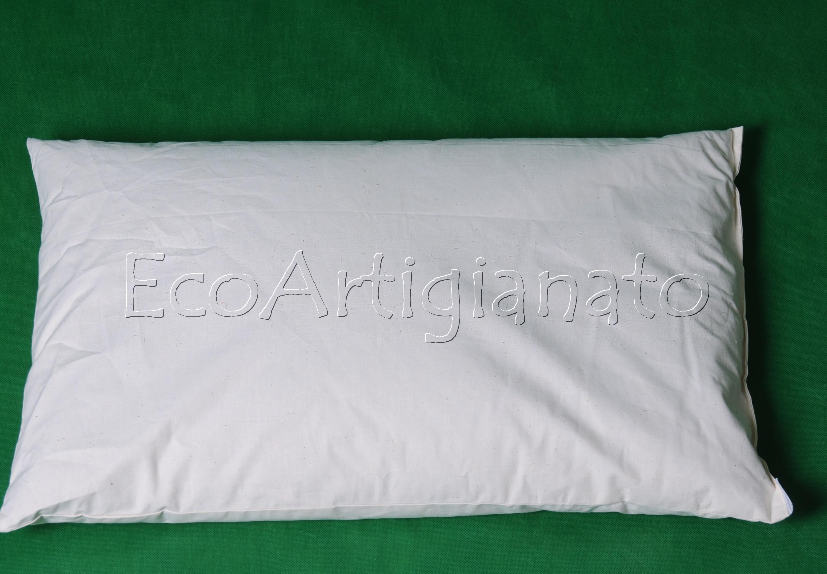 2 Cuscini Guanciali Letto 70x45 Cotone e Pula Farro Biologica