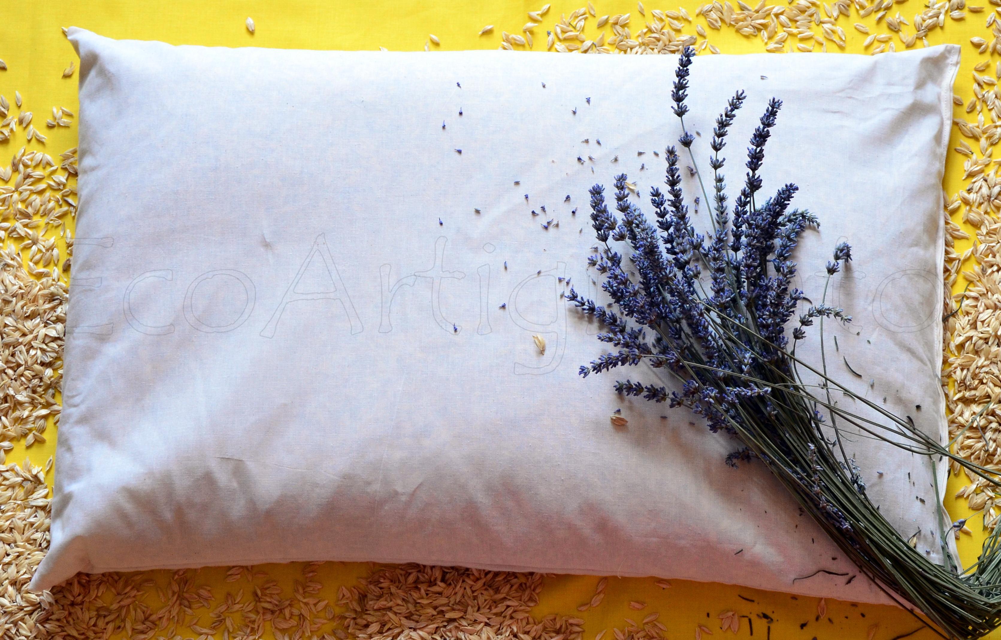 Aromaterapia 2 Cuscini Guanciale 70x45 con Pula Di Farro Biologica e Lavanda