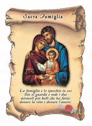 Tavoletta Sacra Famiglia con preghiera