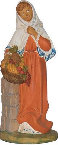 Donna con cesto di frutta presepio cm. 40