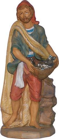 Pastore con pesci presepio cm. 40