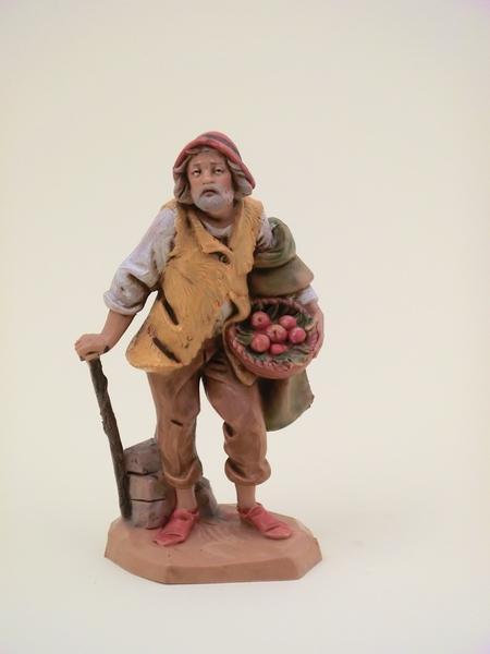 Pastore con cesto di frutta cm 12