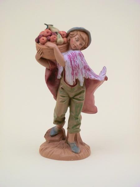 Ragazzo con cesto di frutta cm 12