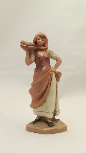 Donna con vassoio e pane cm 12
