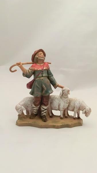 Pastore con bastone e pecore cm 12