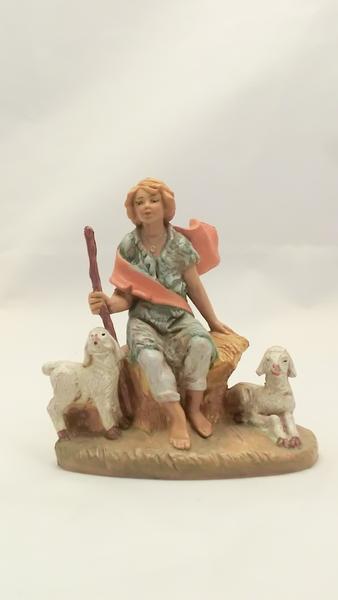 Pastore seduto con agnelli cm 12