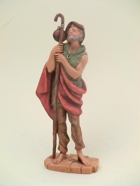 Pastore con bastone e sacco cm 19