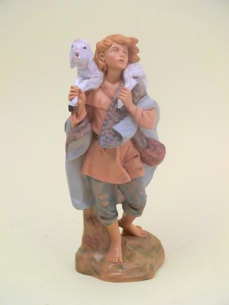 Ragazzo con agnello in spalla cm 19