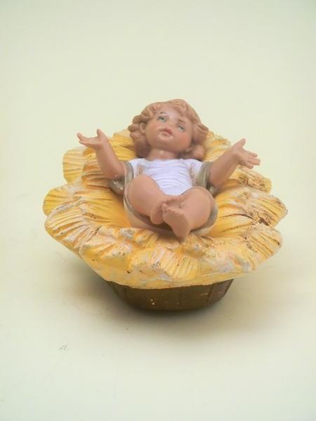 Gesù Bambino con culla tipo legno cm. 19