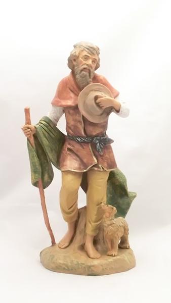 Pastore con bastone e cane cm 30