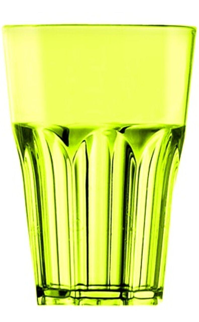 Bichiere da esterno grande in plastica cocktail acrilico giallo verde fluo cm.12h diam.8,3