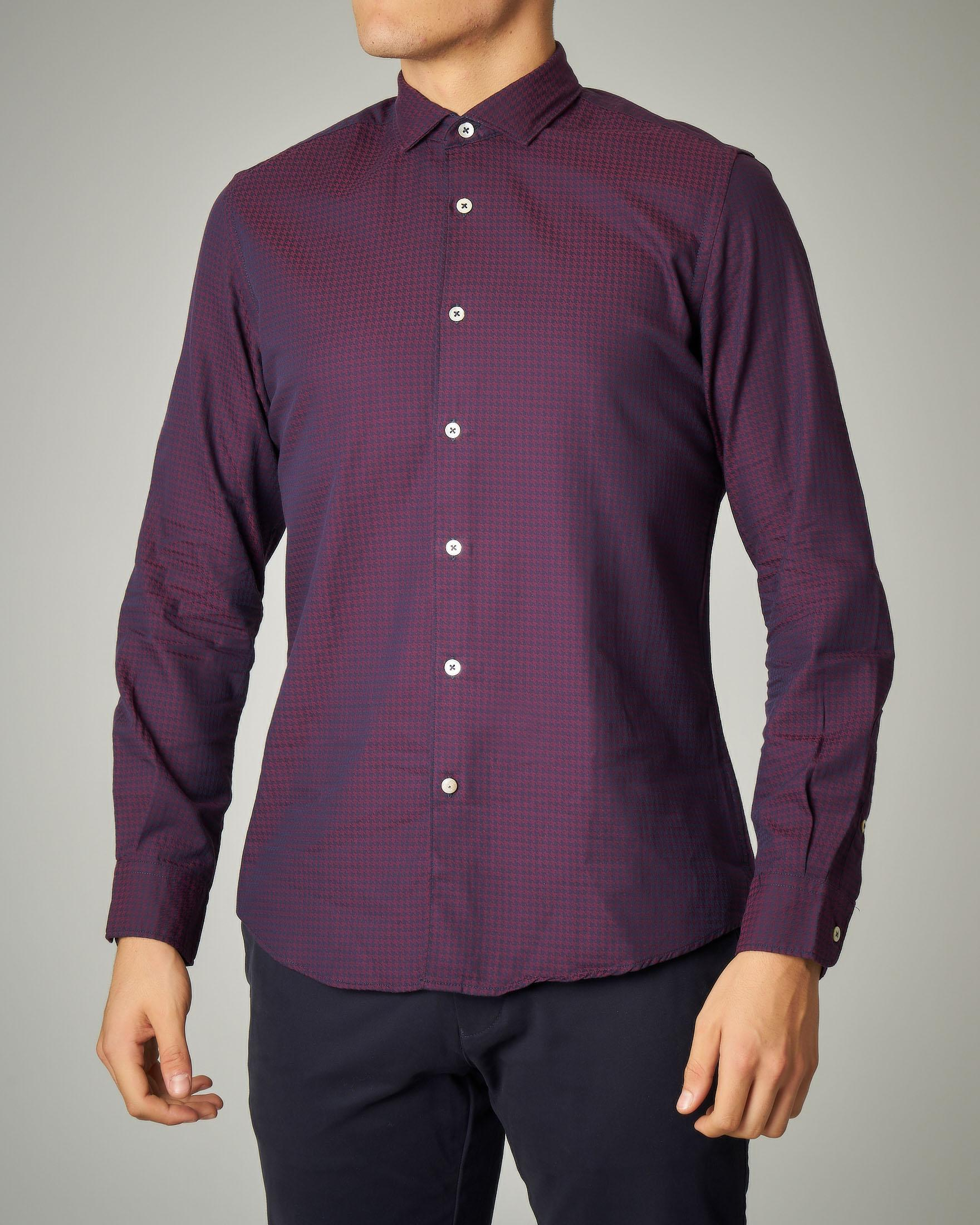 Camicia bordeaux in fantasia