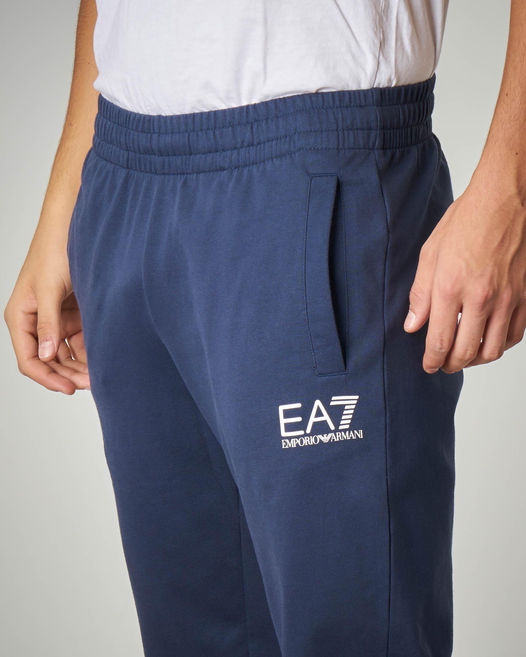 Pantalone blu in felpa leggera logo piccolo