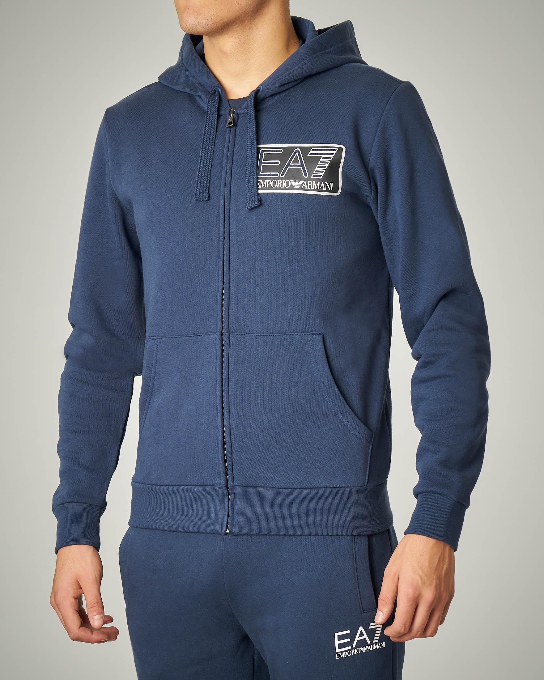 Felpa blu con cappuccio e chiusura zip