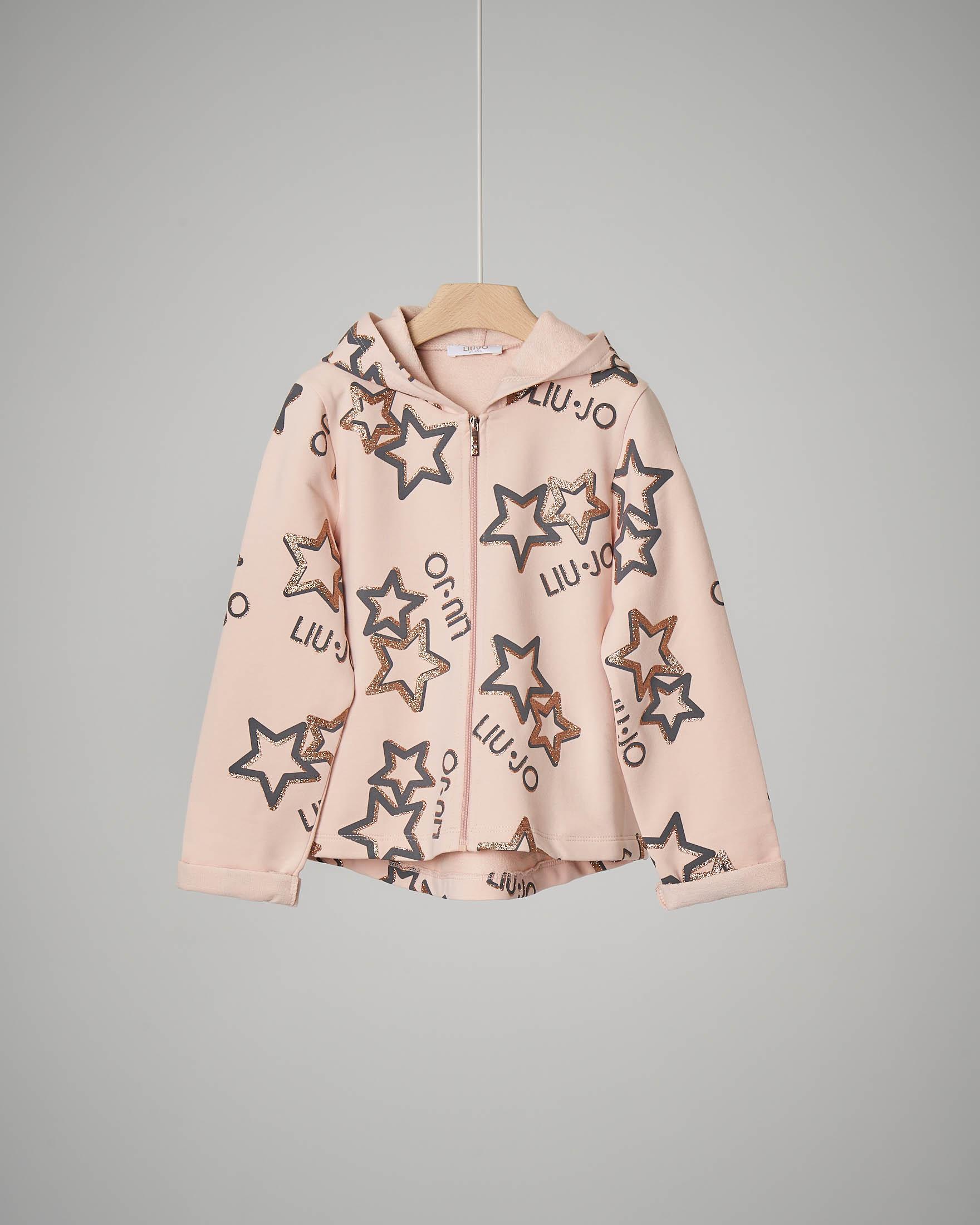 Felpa rosa con zip 4-7 anni