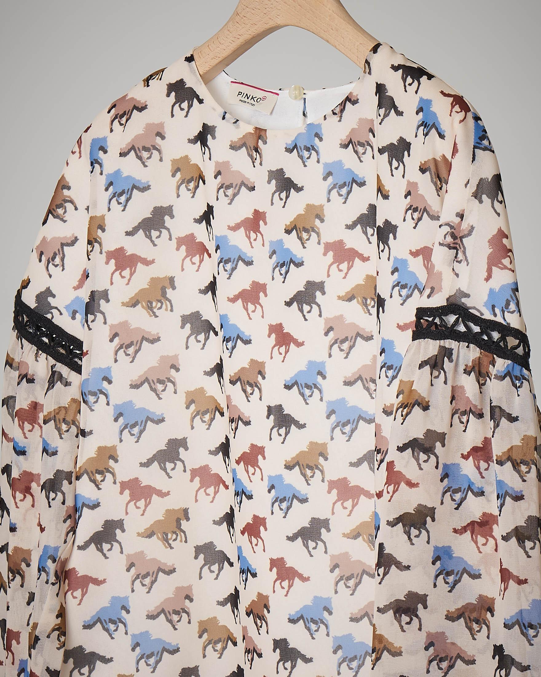 Camicia fantasia cavalli S-XL