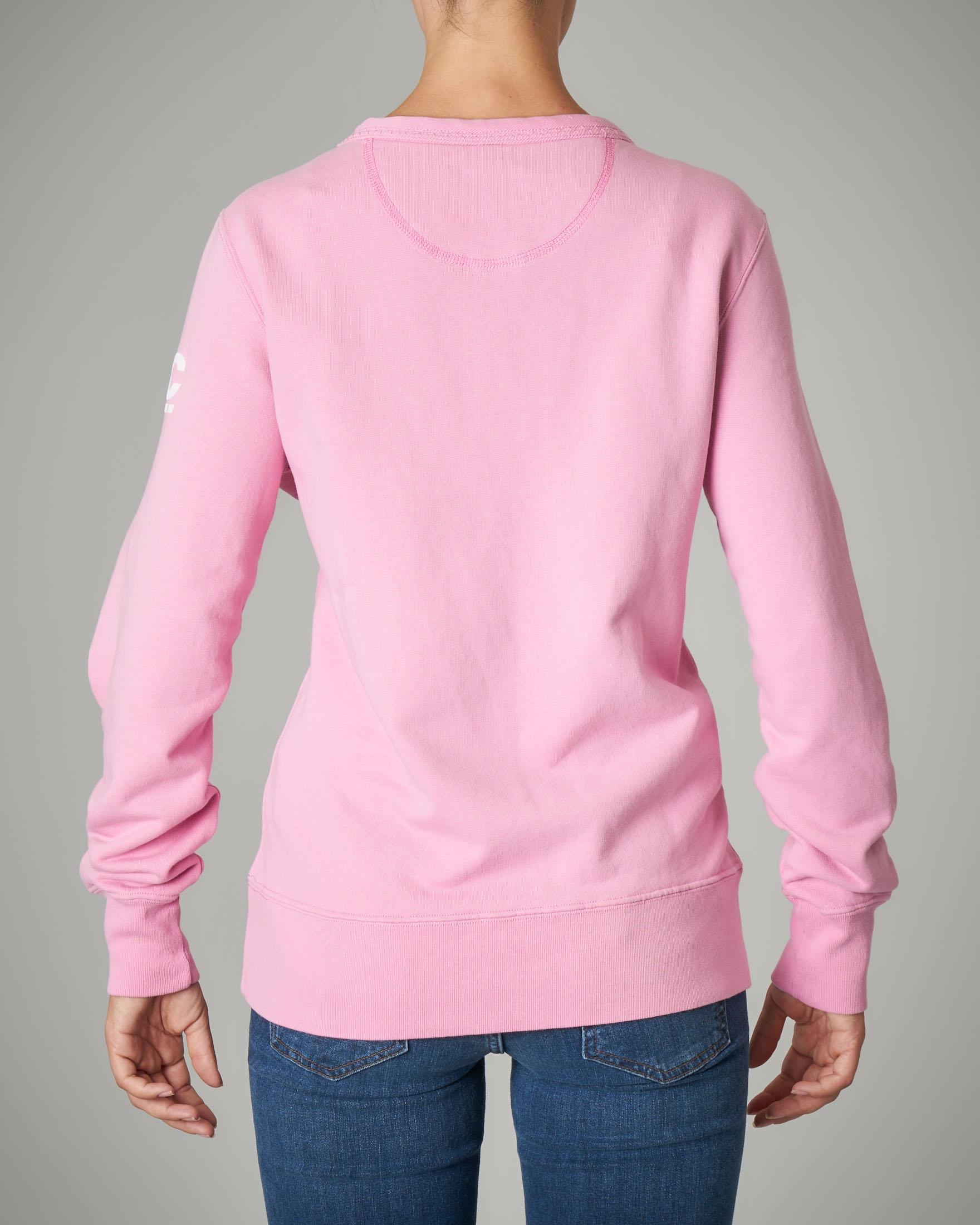 Felpa girocollo rosa in cotone