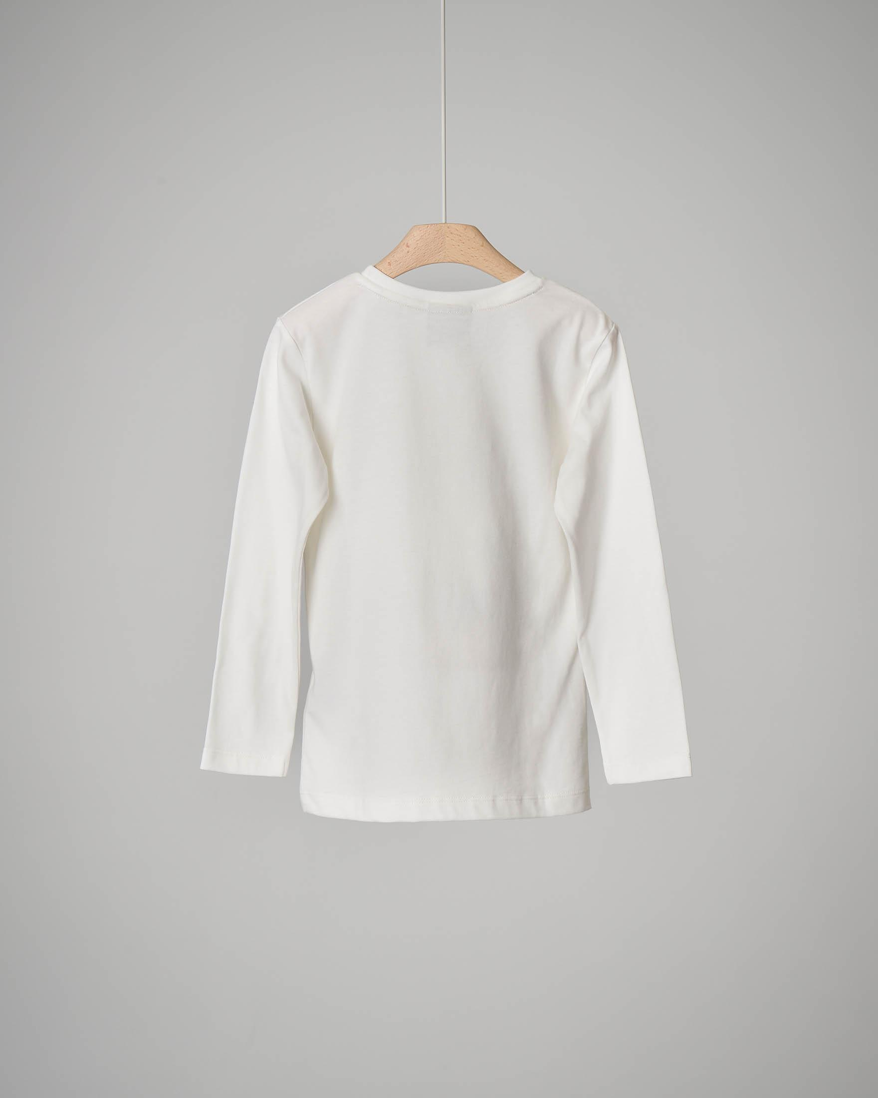 T-shirt bianca a manica lunga con stampa 2-7 anni