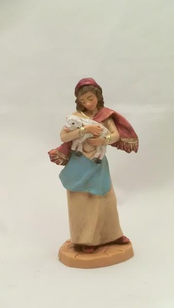 Ragazza con agnello in braccio cm 9,5
