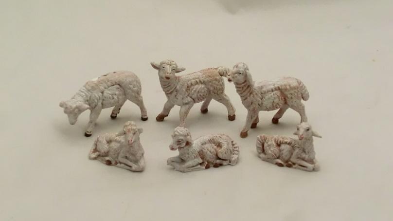 Serie 6 pecore sfumate cm 9,5