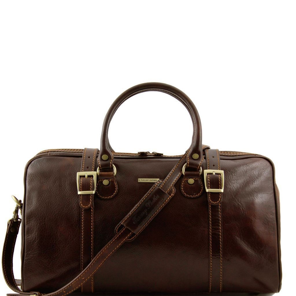 Tuscany Leather TL1014 Berlin - Travel leather duffle bag - Small size Dark Brown