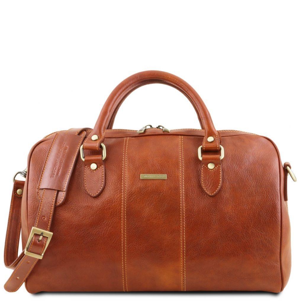 Tuscany Leather TL141658 Lisbona - Travel leather duffle bag - Small size Honey