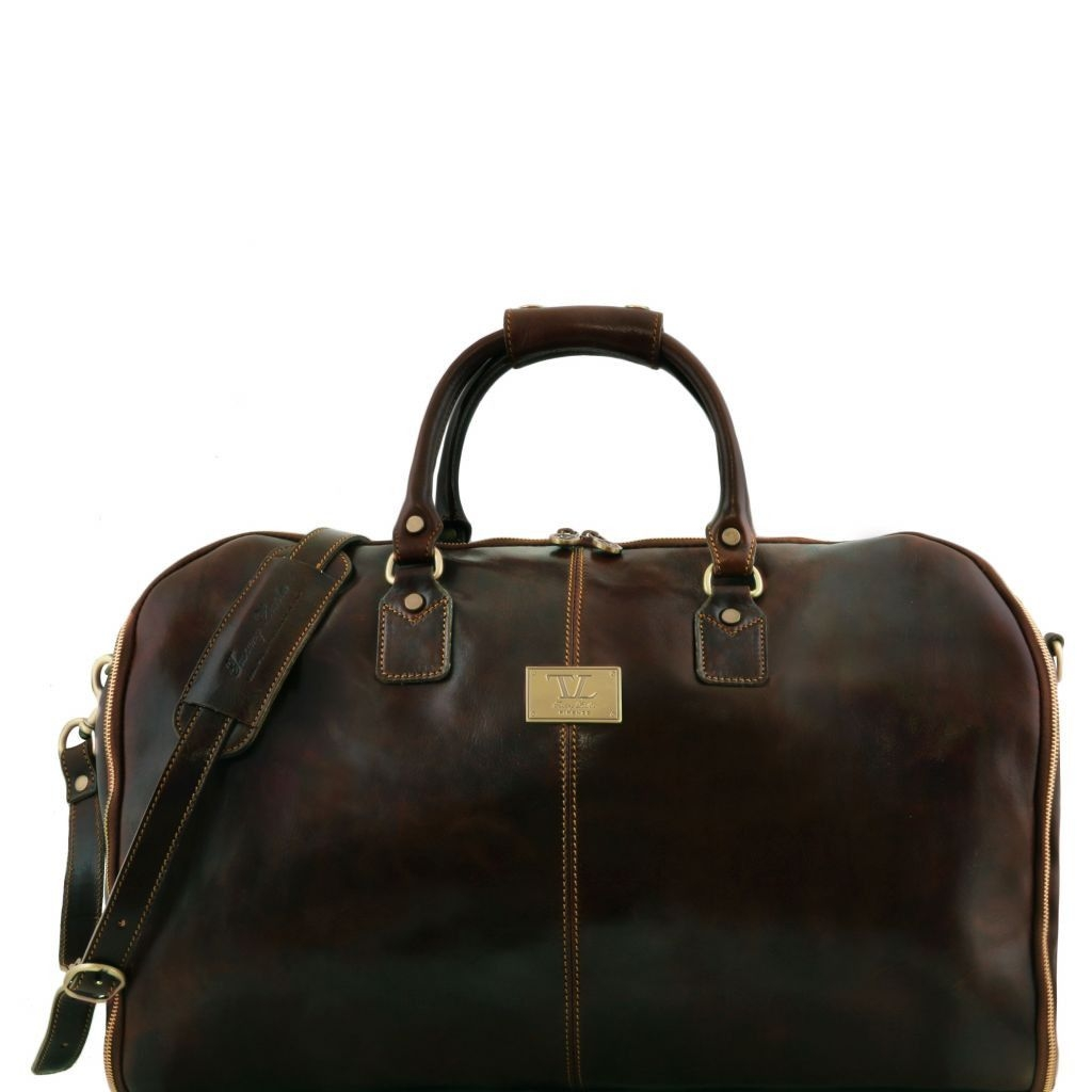 Tuscany Leather TL141538 Antigua - Travel leather duffle/Garment bag Dark Brown