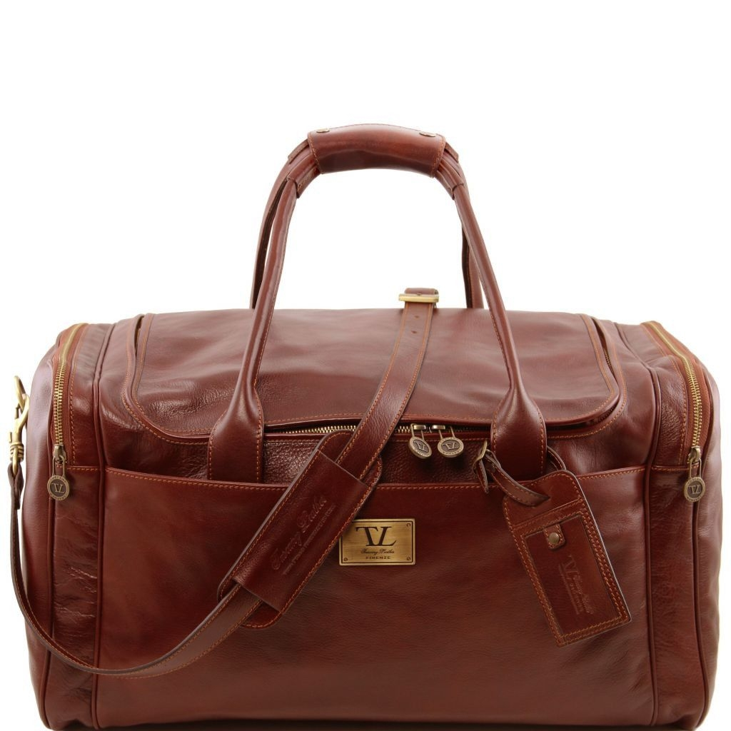 Tuscany Leather TL141281 TL Voyager - Travel leather bag with side pockets - Large size Brown
