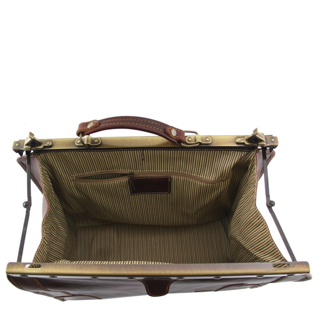 Tuscany Leather TL1023 Madrid - Gladstone Leather Bag - Small size Dark Brown
