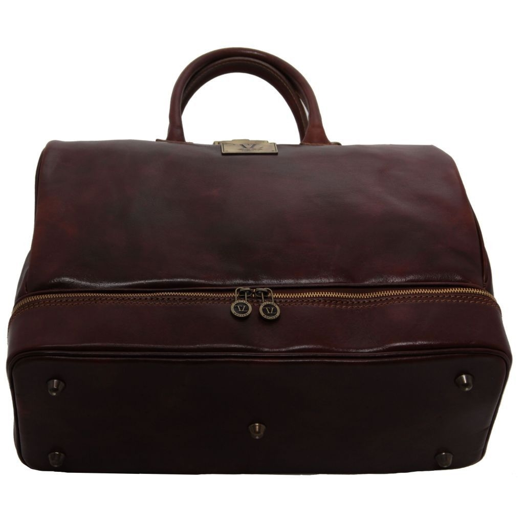 Tuscany Leather TL141185 Barcellona - Double-bottom Gladstone Leather Bag Dark Brown