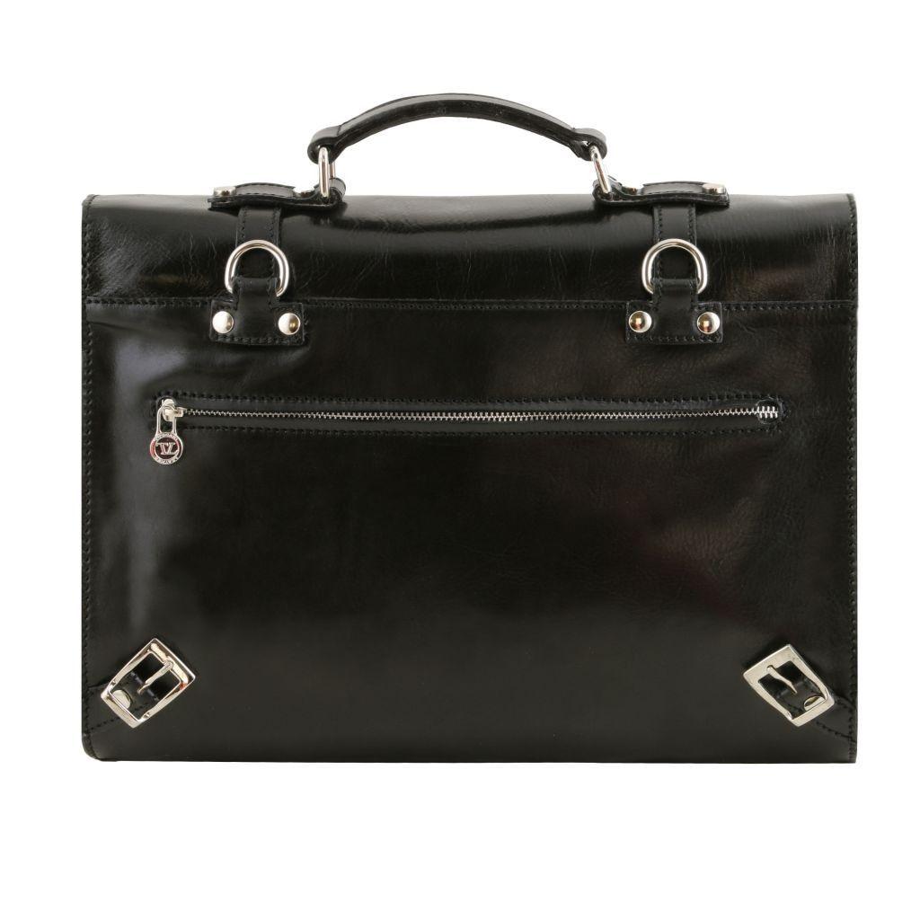 Tuscany Leather TL141558 Viareggio - Exclusive leather laptop case with 3 compartments Black